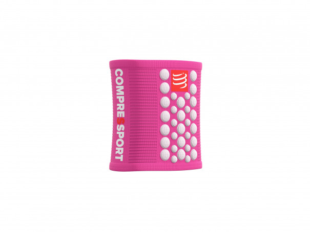 Muñequeras 3D.Dots rosa/blanco