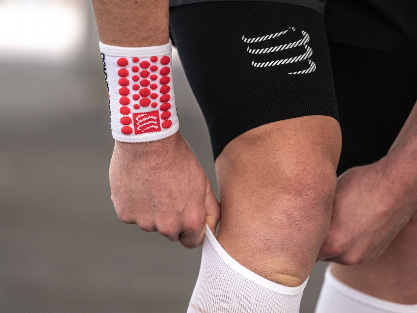 Sweatbands 3D.Dots white/red