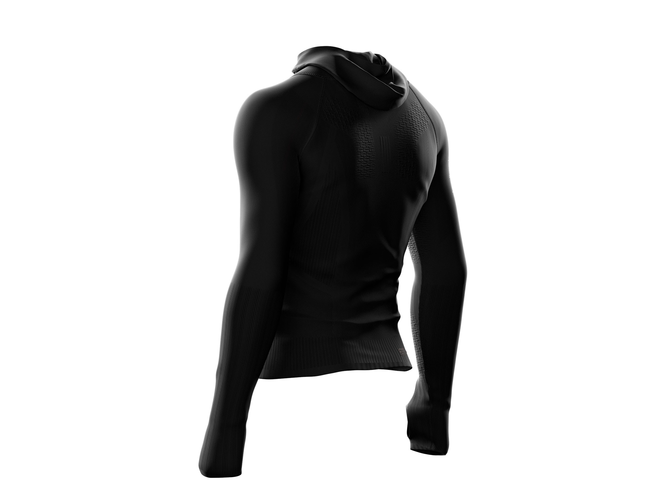 3D Thermo Seamless Woodpulp Zip Hoodie BLACK
