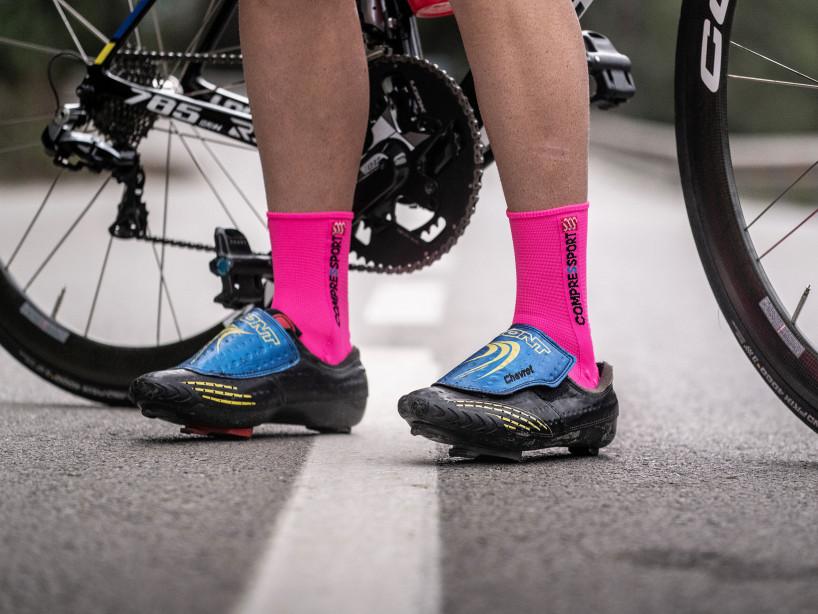 Calcetines deportivos pro v3.0 Bike rosa flúor