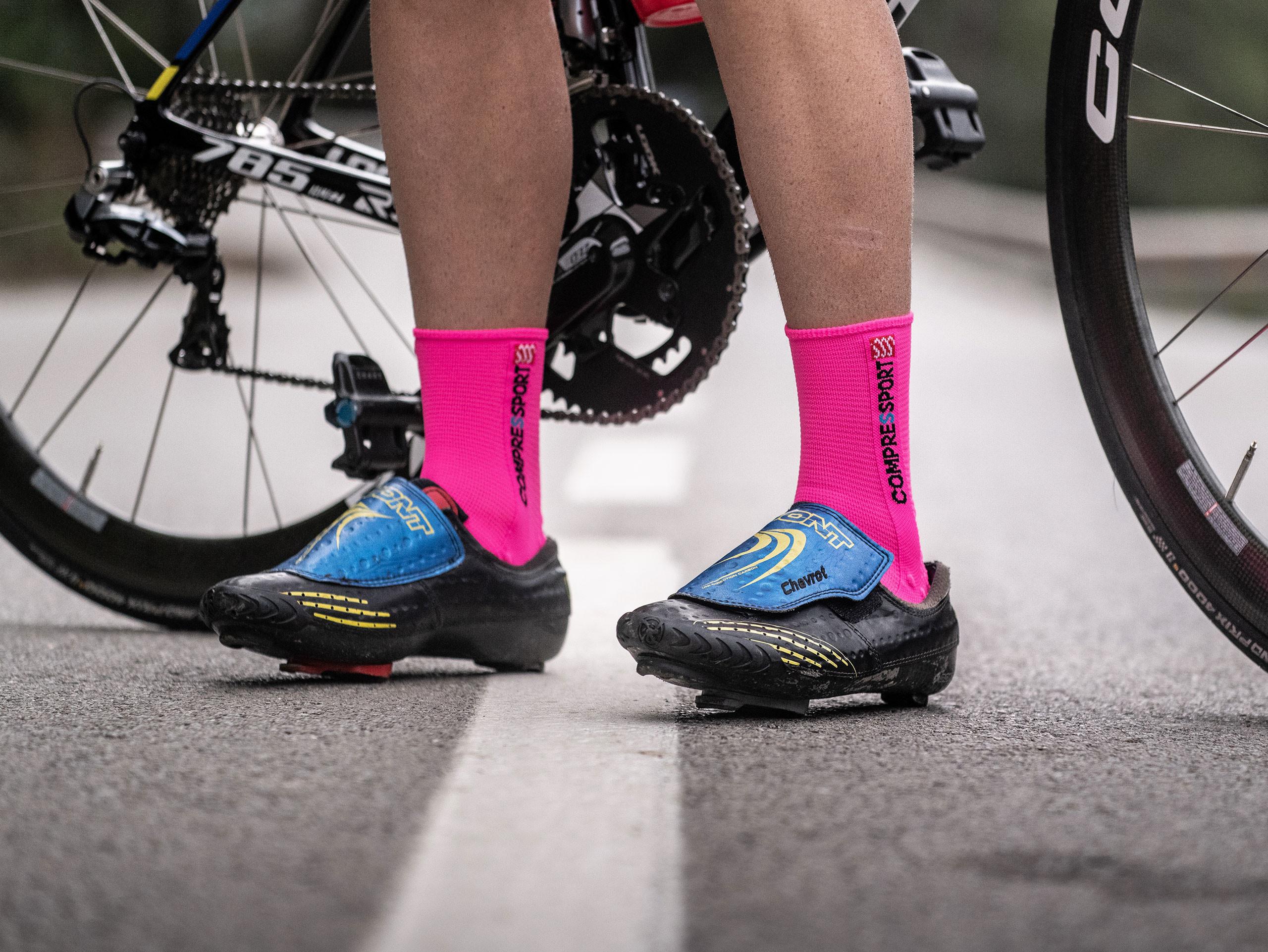 Calzini da gara professionali v3.0 Bike rosa fluo