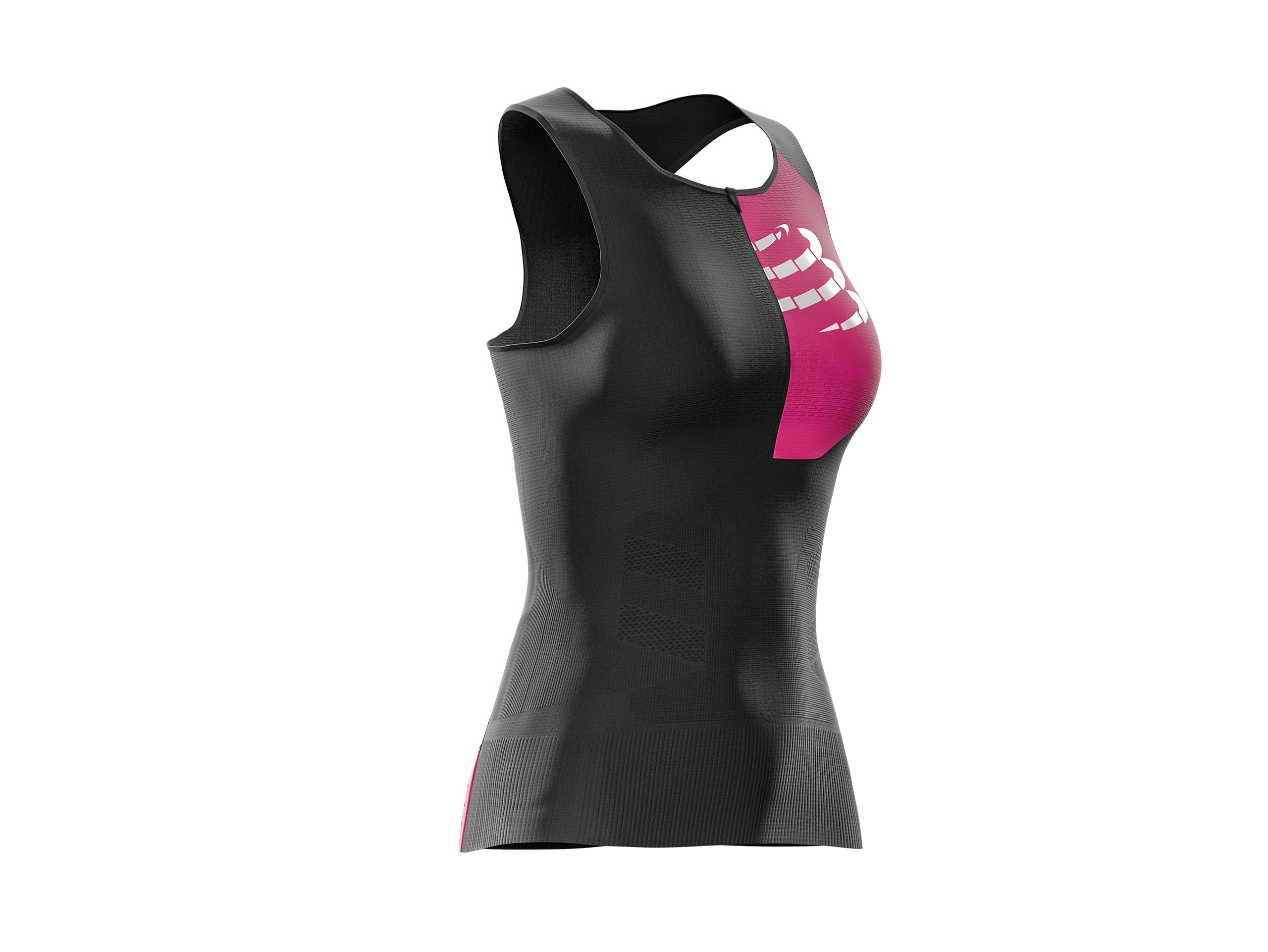 Canotta posturale superiore da triathlon W nera