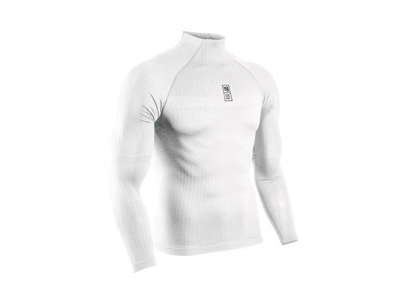 Weisses 3D-Thermo-Langarmshirt 110 g