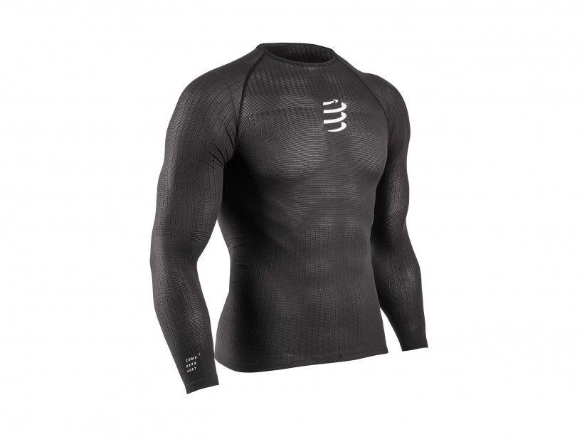 Schwarzes 3D-Thermo-Langarmshirt mit 50g