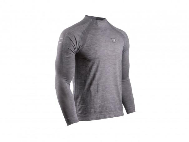 T-shirt LS mélange grigio da allenamento