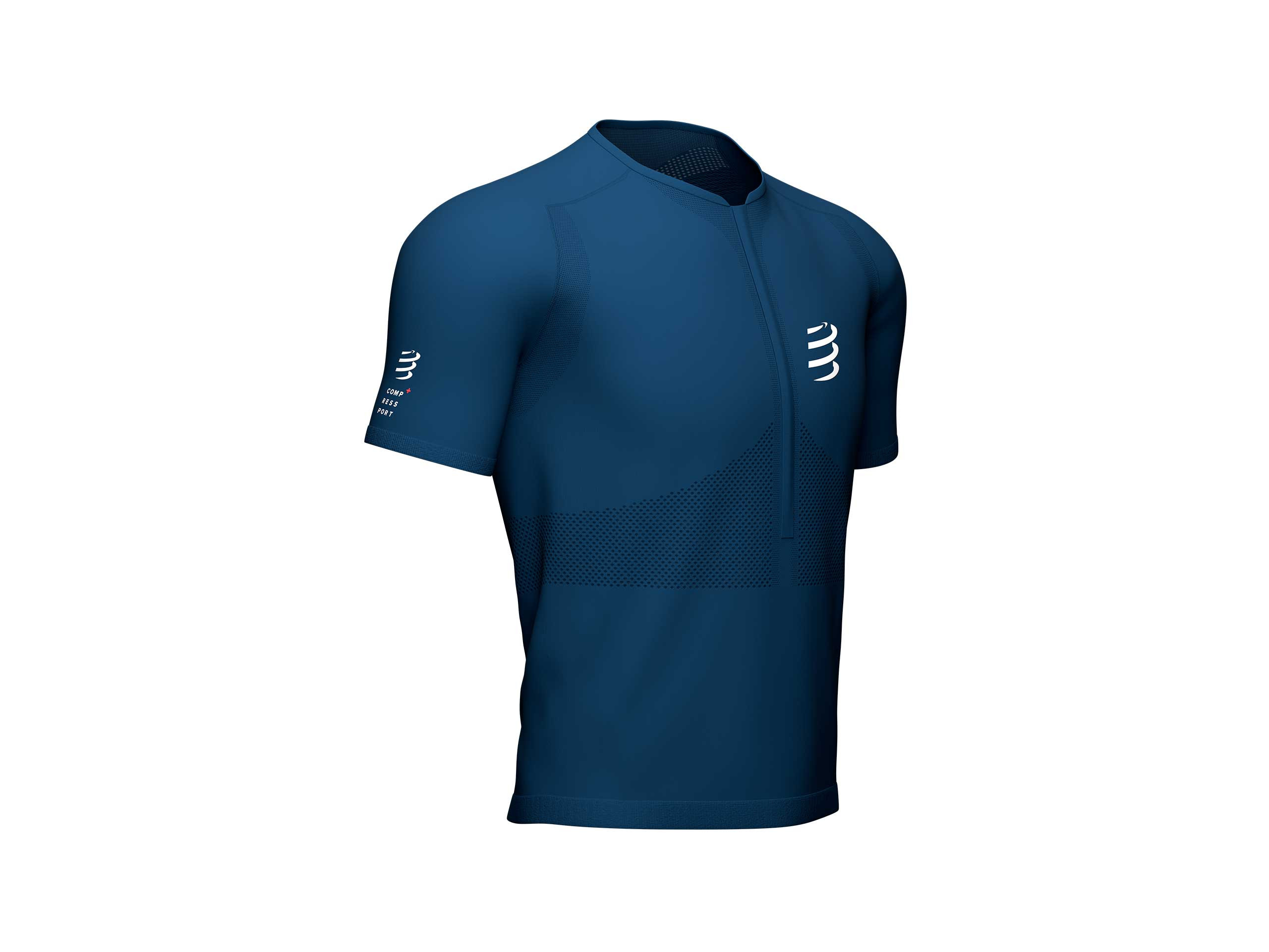 Trail Half-Zip Fitted SS Top blau