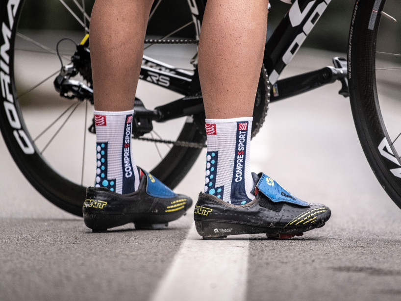 Pro racing socks v3.0 Bike weiß/blau