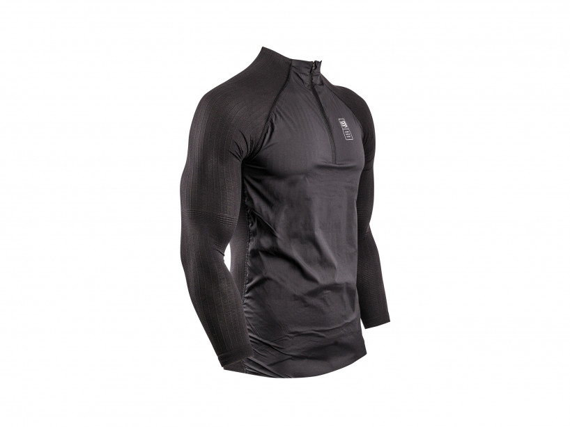 Schwarzer Hybrid-Pullover