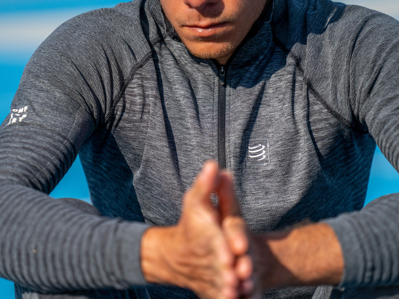 Grau melangefarbenes Seamless Sweatshirt mit Reißverschluss