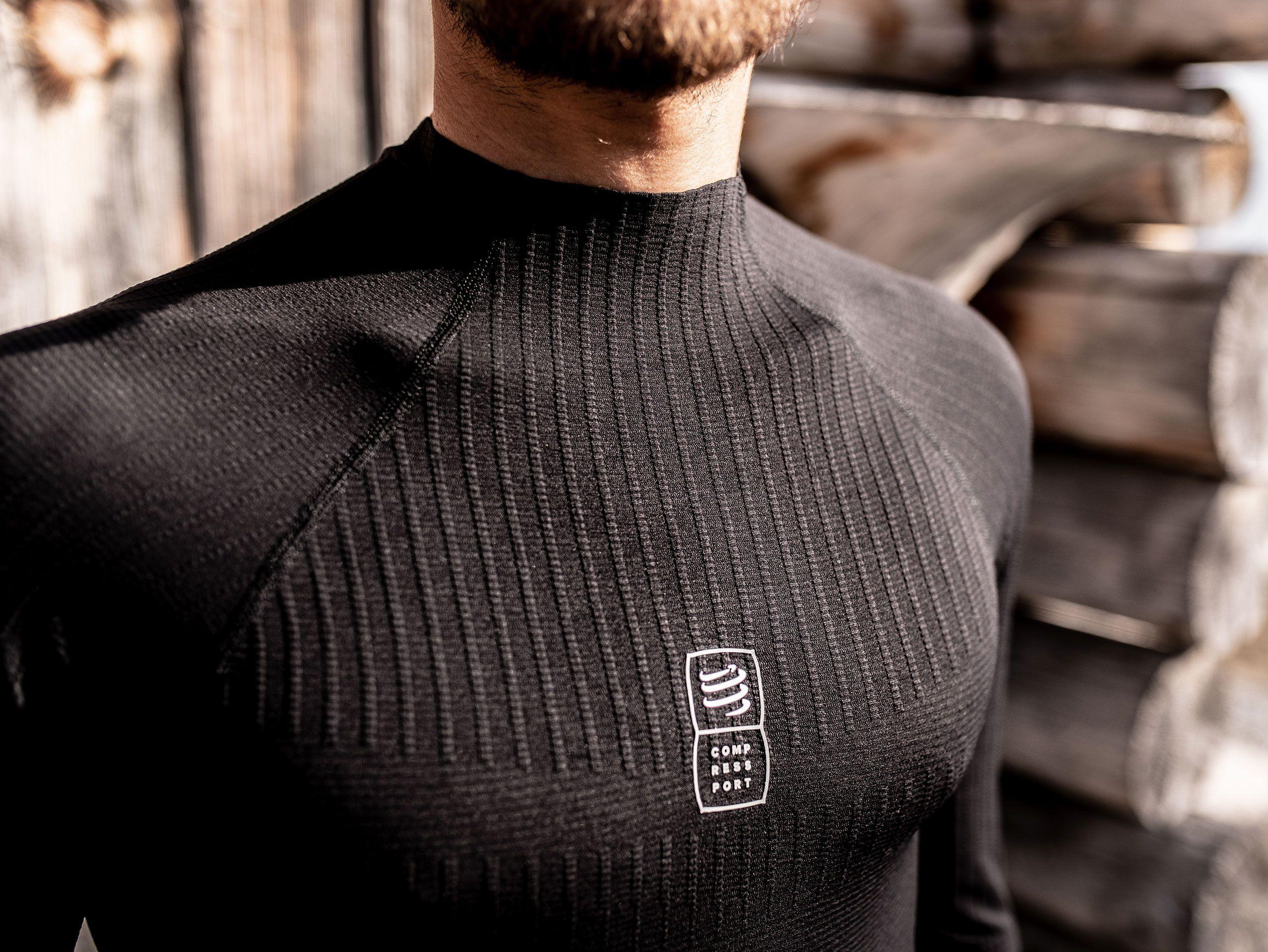 Schwarzes 3D-Thermo-Langarmshirt 110 g