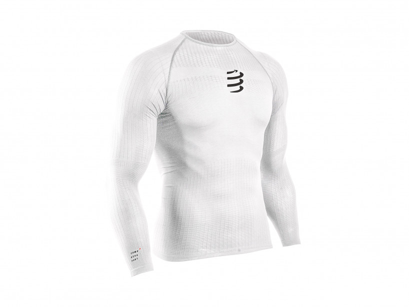 Weisses 3D-Thermo-Langarmshirt mit 50g