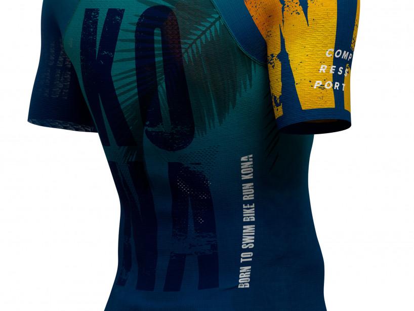 Weißes kurzärmeliges Damen-Triathlon-Top mit Haltungsunterstützung - Kona 2019