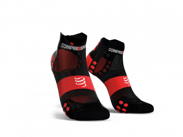 Calcetines deportivos pro v3.0 Run Ultralight Run Low negro/rojo