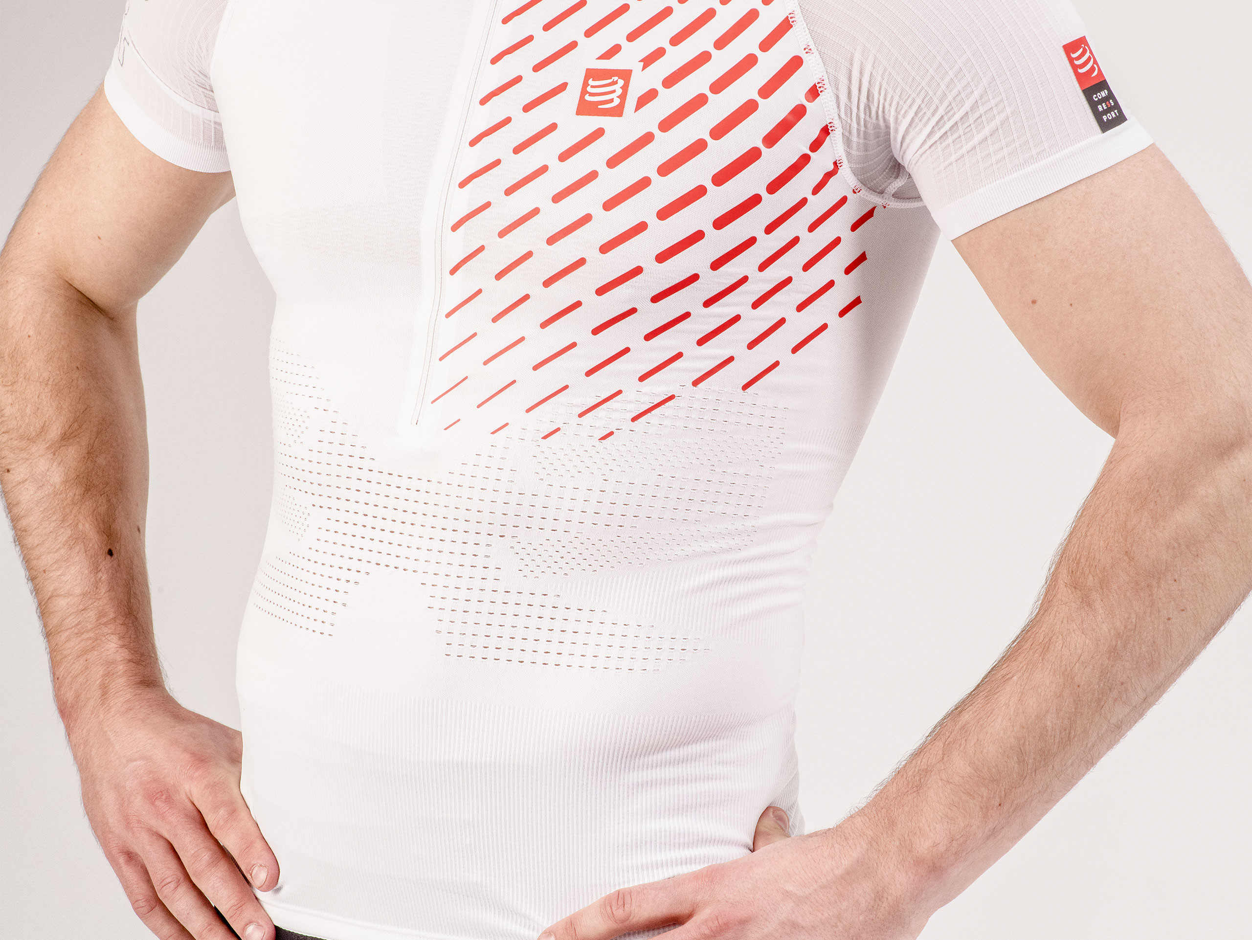 Camiseta MC postural de trail running blanca