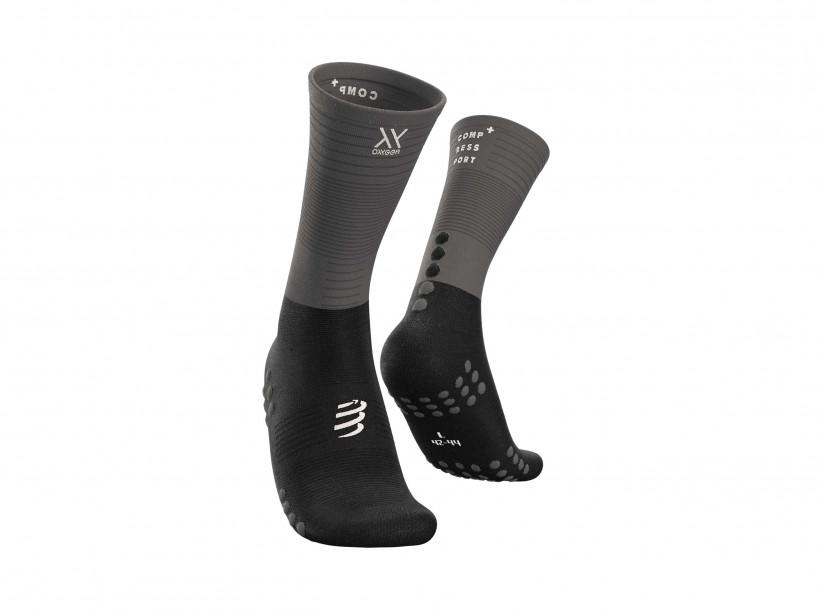 Calcetines medios de compresión negro/gris