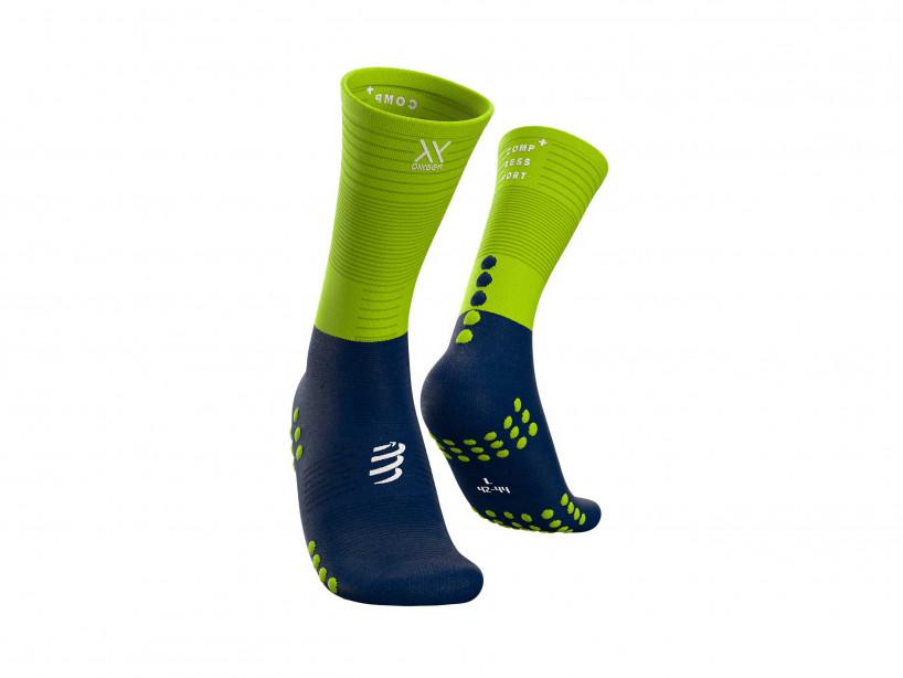 Calcetines medios de compresión azul/lima