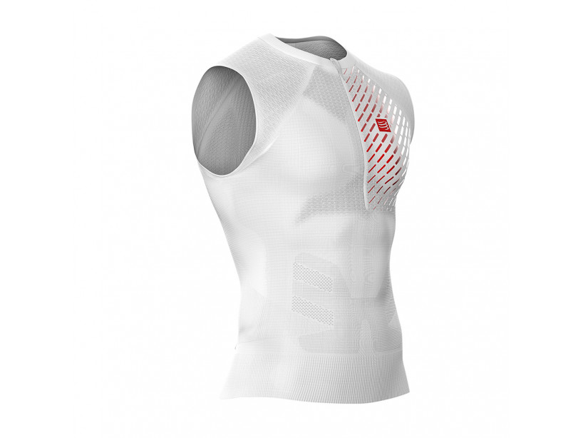 Camiseta sin mangas postural de trail running blanca