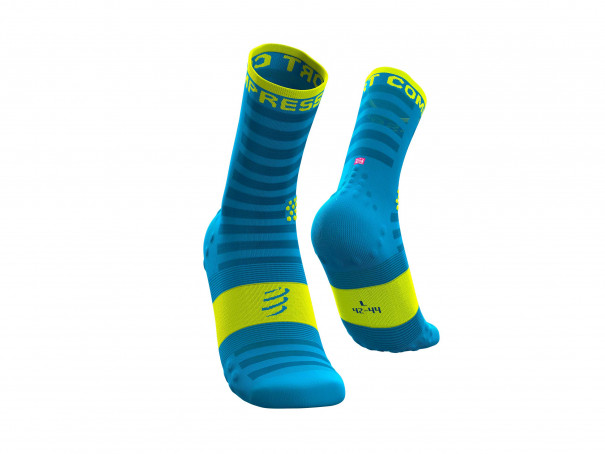 Calcetines Pro Racing v3.0 Ultralight Run High flúor azules