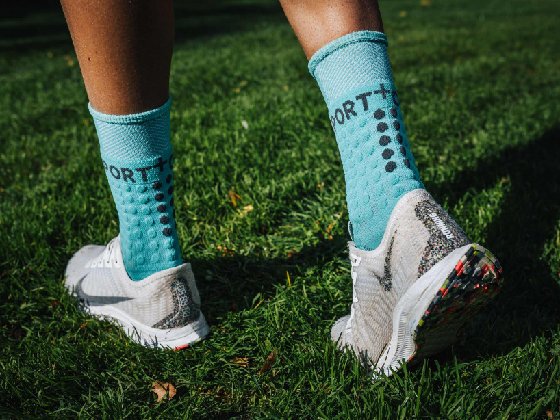 Pro racing socks winter run bleu du nil