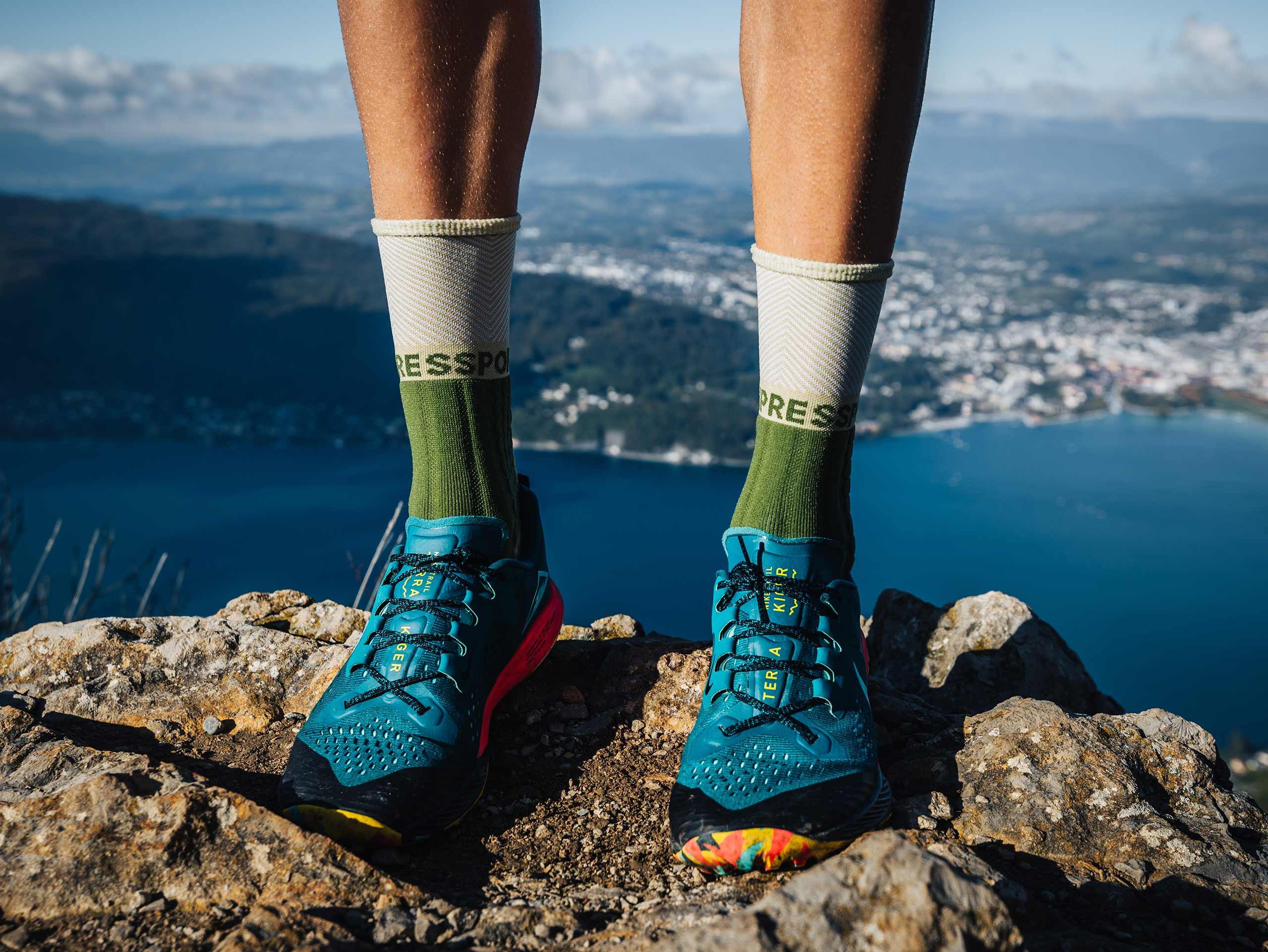 Pro racing socks winter trail vert de gris