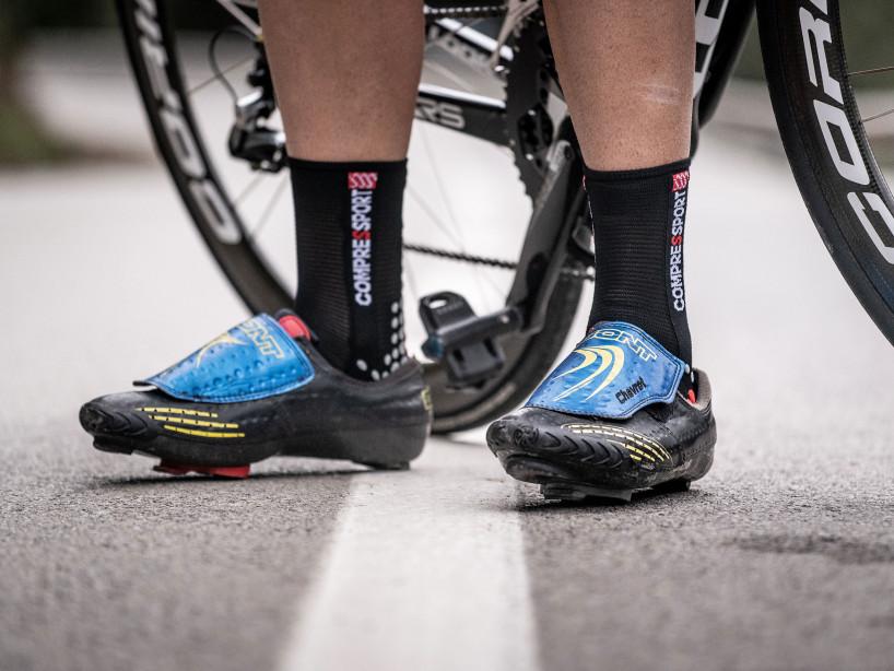 Calcetines deportivos pro v3.0 Bike negro/rojo