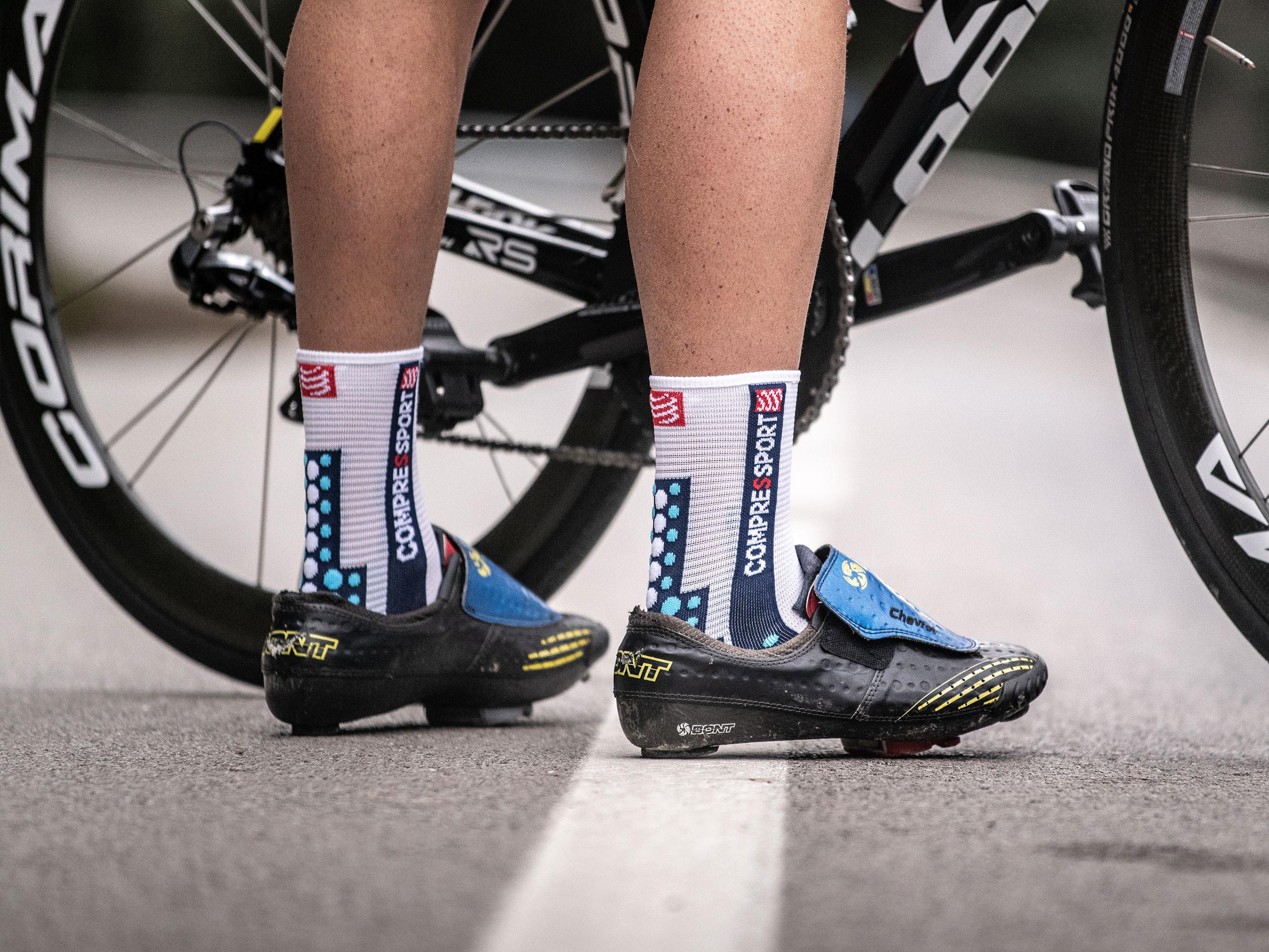 Calzini da gara professionali v3.0 Bike bianchi/blu