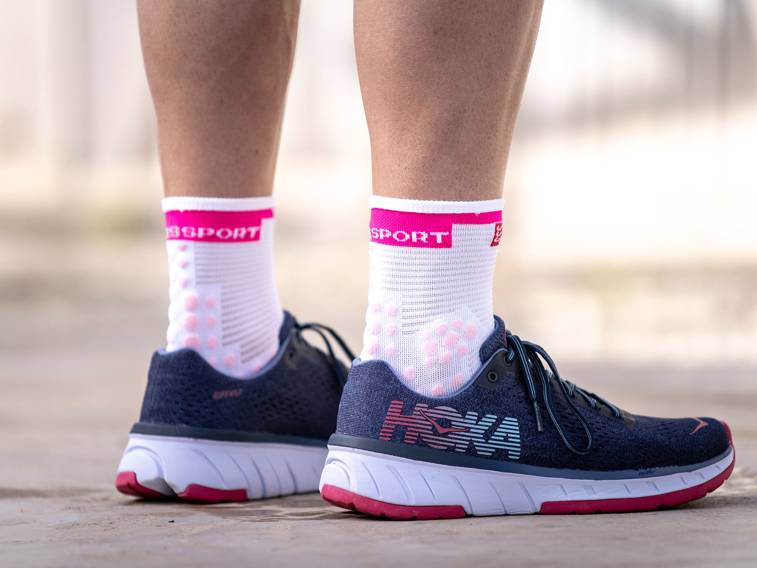 Pro racing socks v3.0 Run high white/pink
