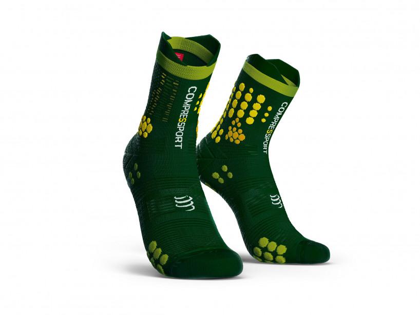 Calzini da gara professionali v3.0 verdi/gialli
