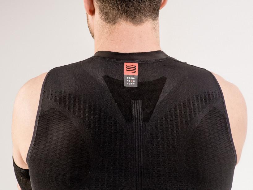 Camiseta sin mangas postural de trail running negra