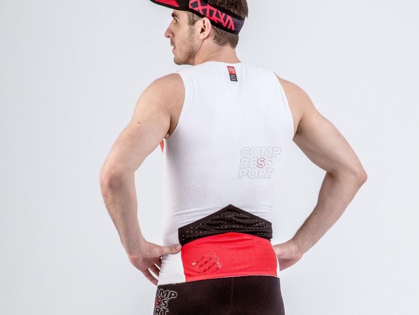 Camiseta sin mangas postural de triatlón blanca