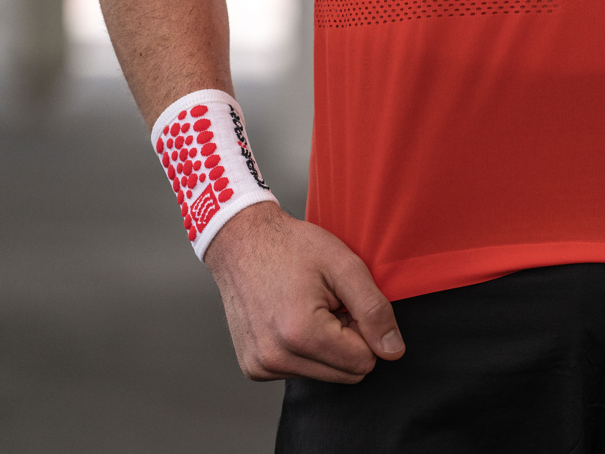 Sweatbands 3D.Dots weiß/rot