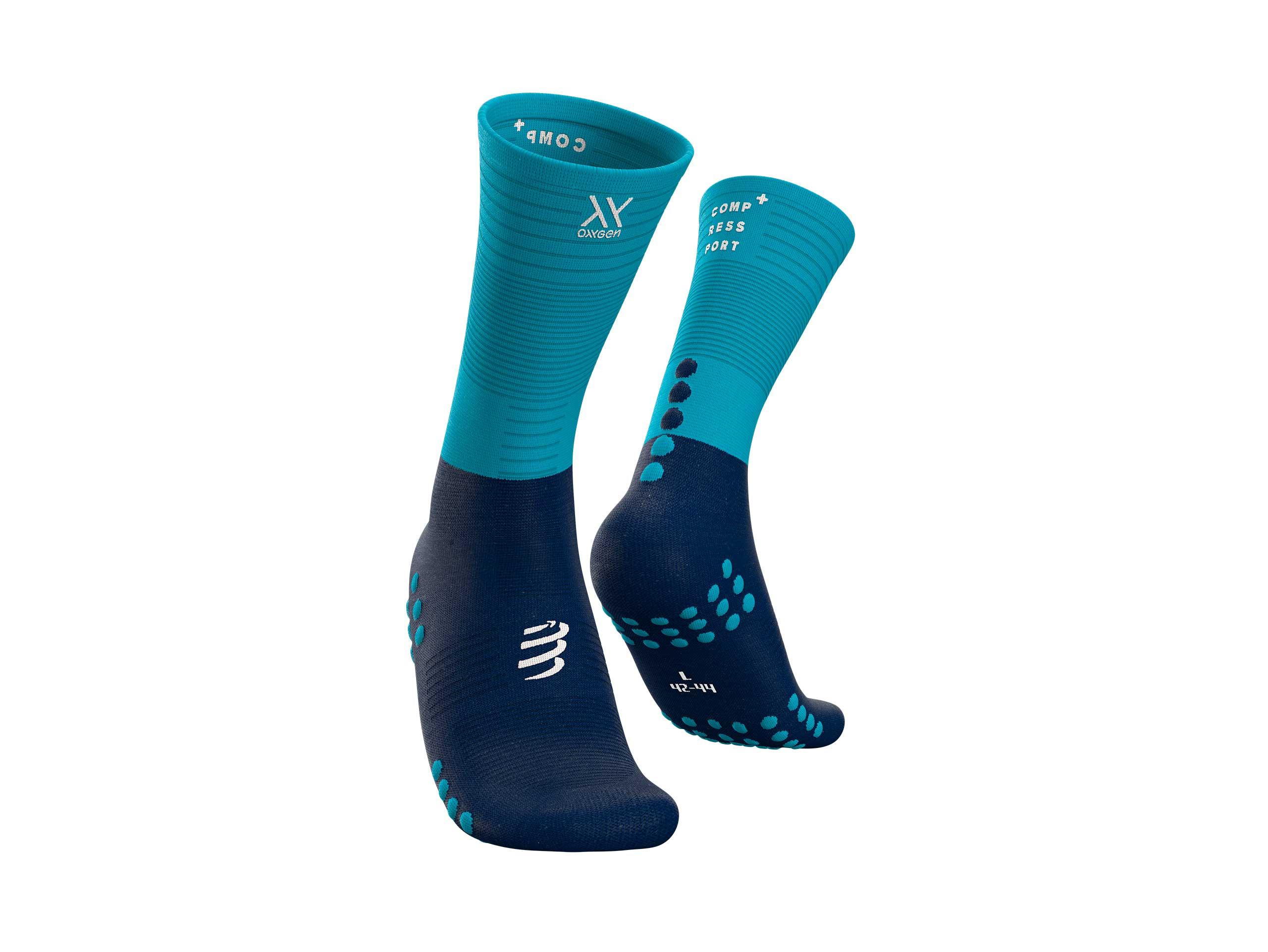 Calcetines medios de compresión negro/azul cielo