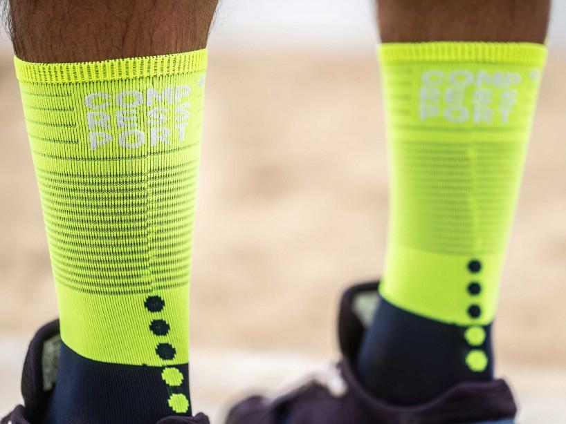 Mid Compression Socks Blau/Limonenfarben
