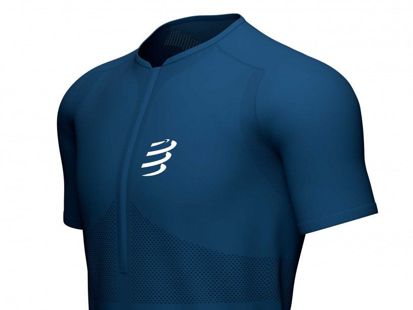 Trail Half-Zip Fitted SS Top blue