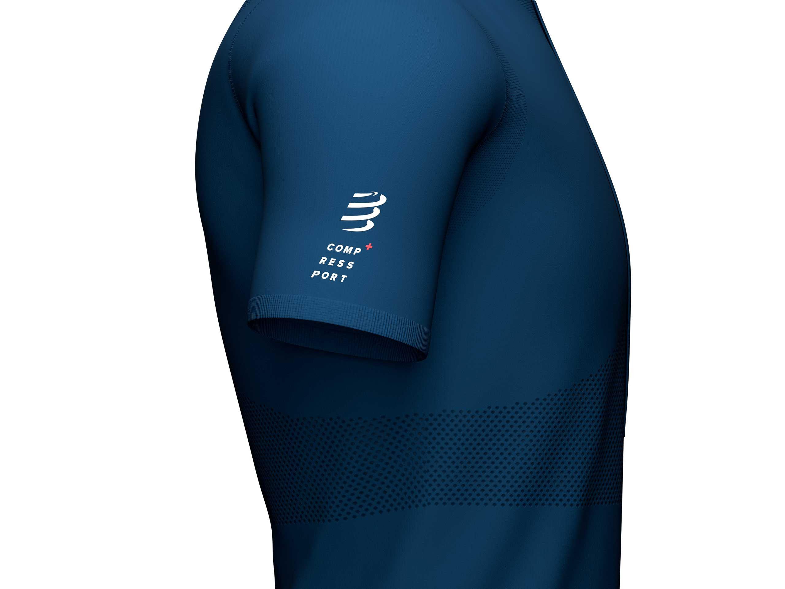 Top-blu-aderente-SS-da-trail-con-mezza-zip