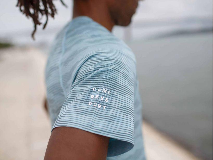 Training SS Tshirt Camo Stripe NILE BLUE