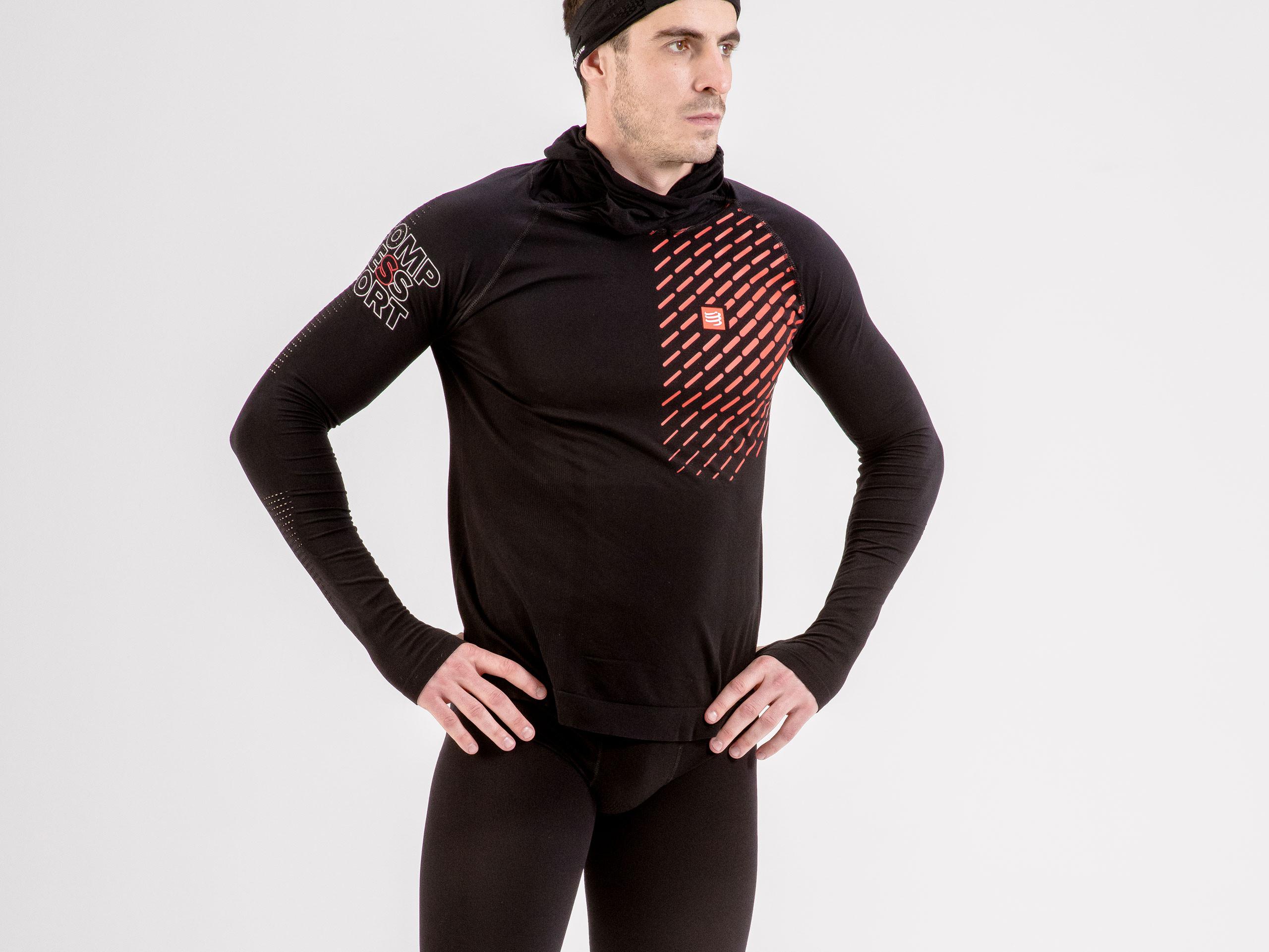 Felpa con cappuccio termica ultra-leggera 3D da gara nera