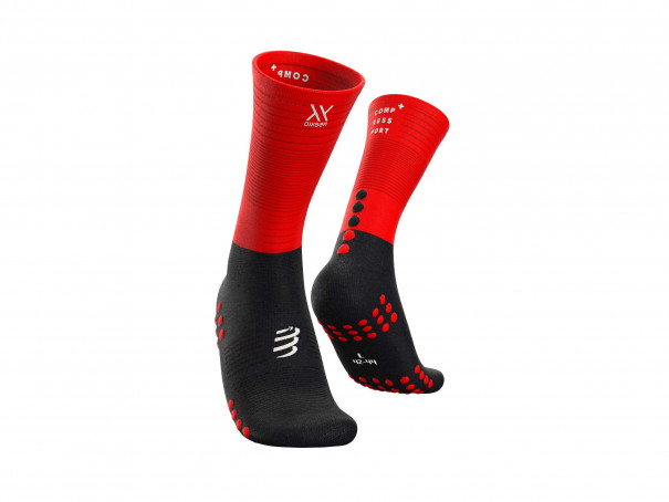 Calcetines medios de compresión negro/rojo