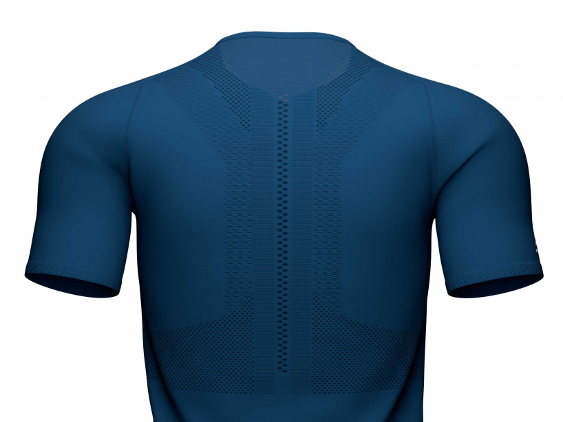 Trail Half-Zip Fitted SS Top blau