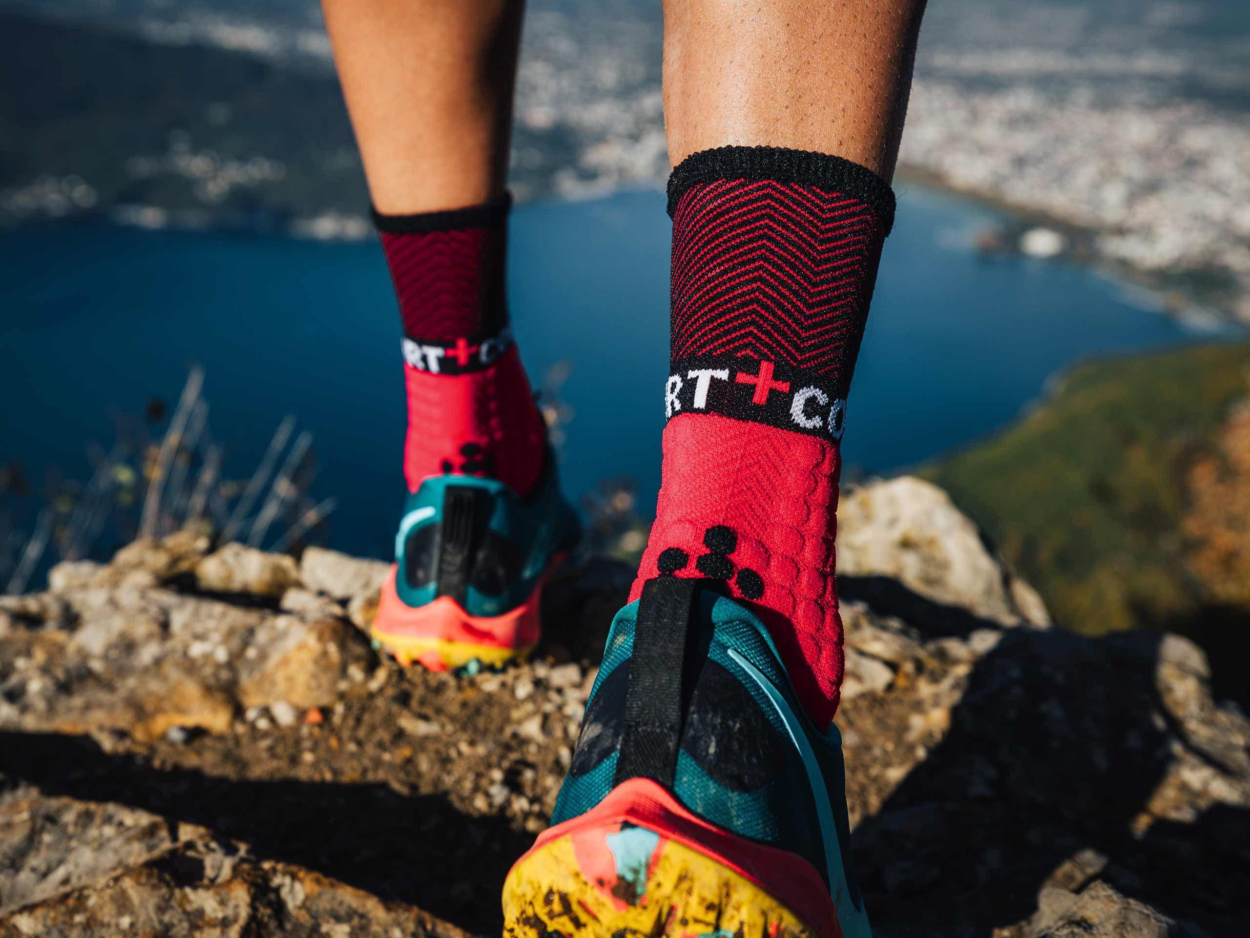 Pro racing socks winter trail rouge noir